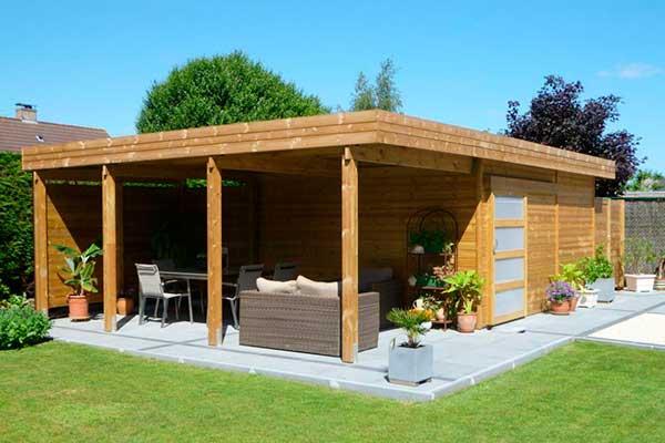Caseta de jardín de madera con porche