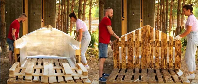 Construyendo caseta jardín con palets