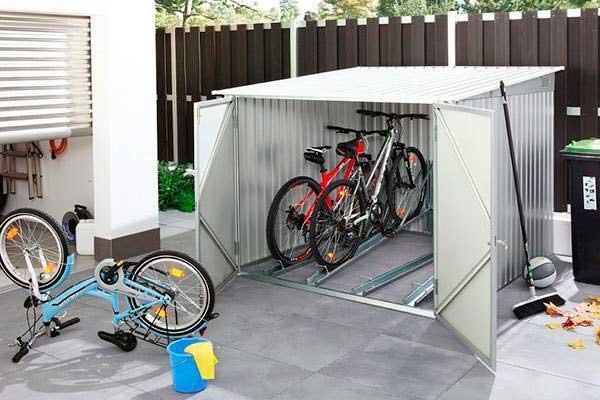 Caseta para guardar bicicletas de acceso frontal