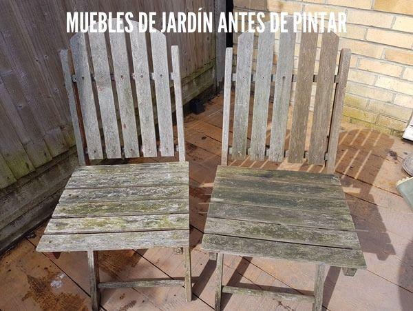 Muebles de jardín antes de pintar
