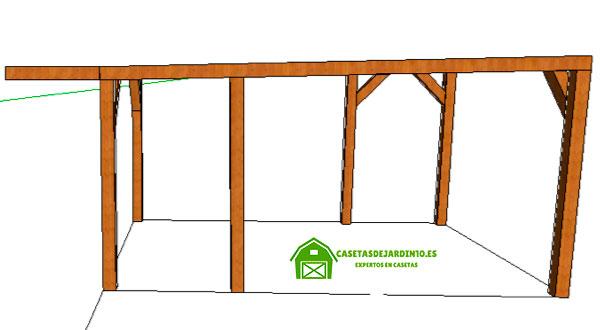 Estructura de madera de la pérgola