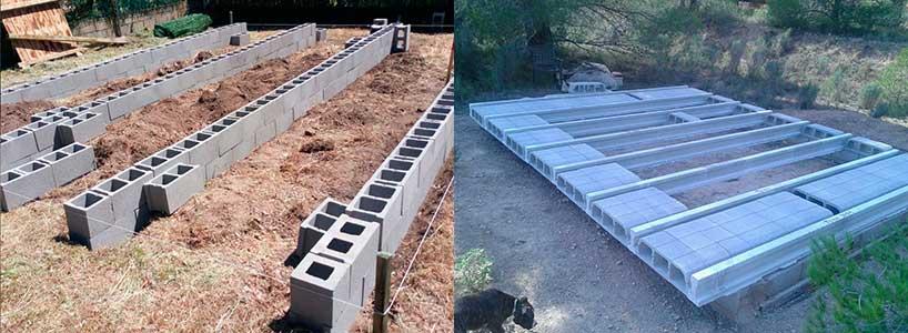 Qué suelo poner en una caseta de jardín: Vigas de hormigón